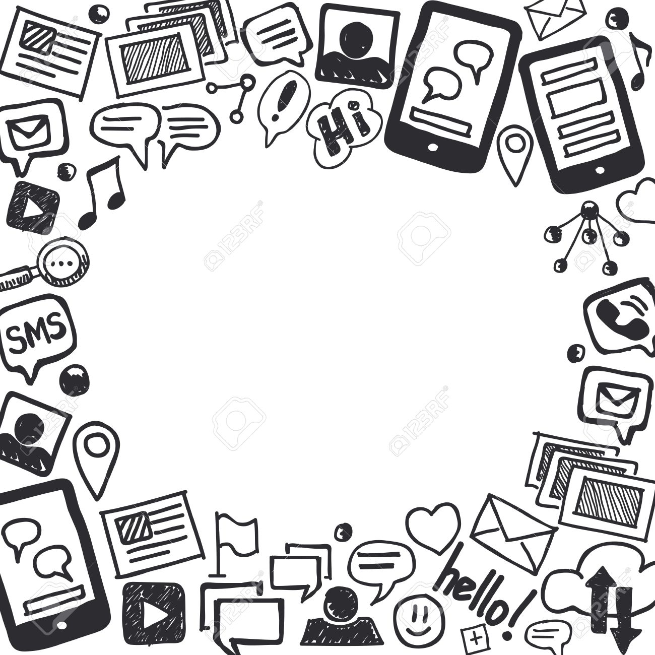 Hand Drawn Social Media Doodle Background In Black And White With Empty Space For Text