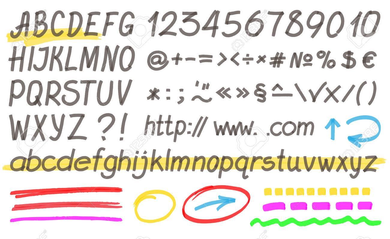 Handwritten Highlighter Alphabet Buchstaben Zahlen Und Symbolen