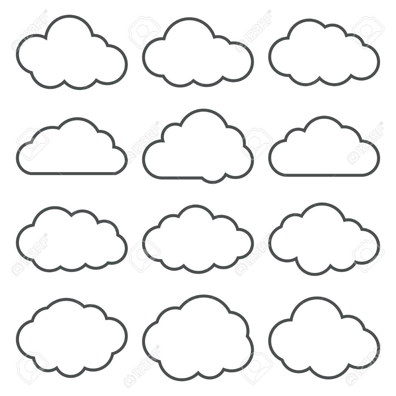 Cloud shapes thin line icons set. Cloud symbols. Collection of cloud pictograms. Vector icons of a clouds in thin line style. EPS8 vector illustration. - 53579801