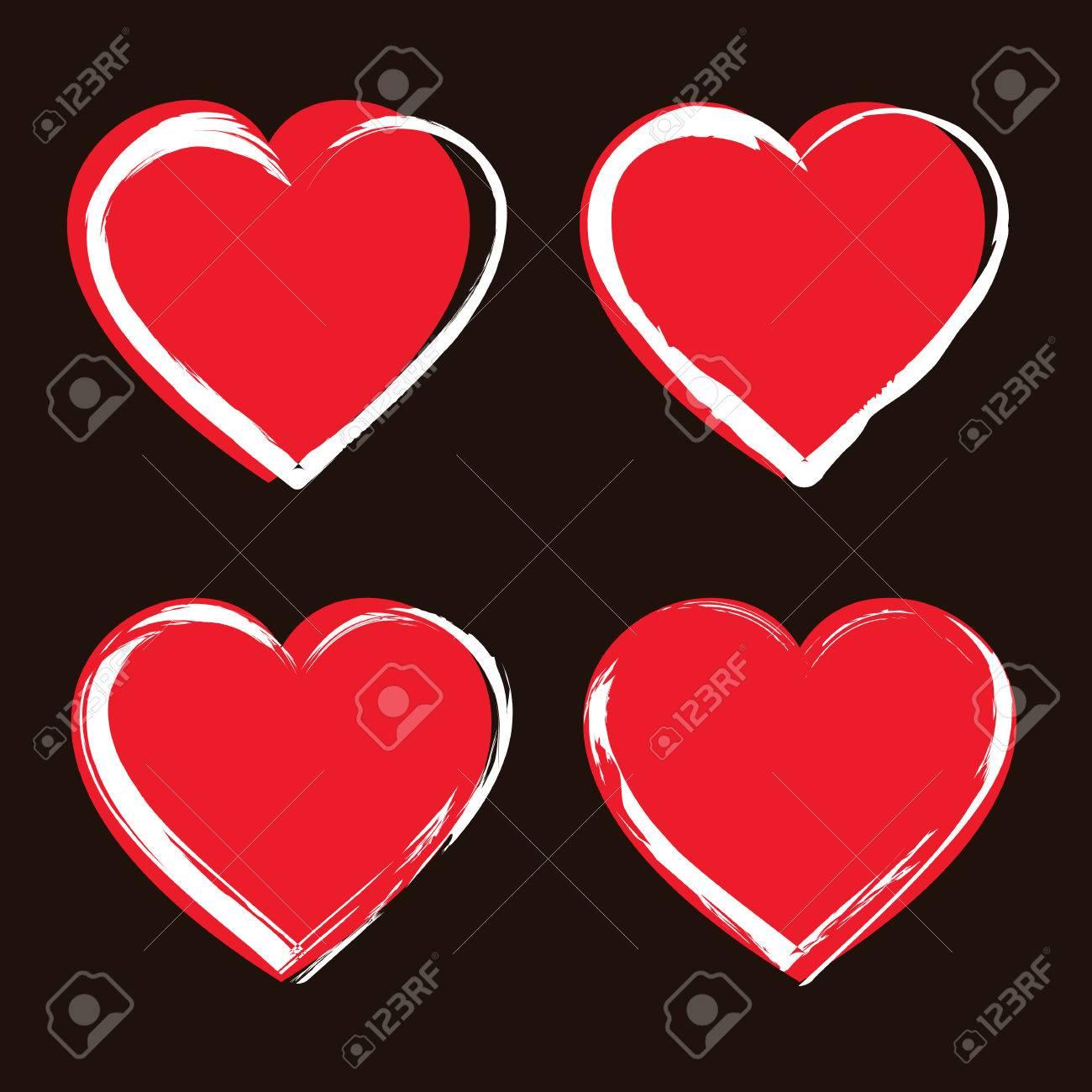 Conjunto De Iconos Del Corazón Corazones Símbolos De Color Rojo Con