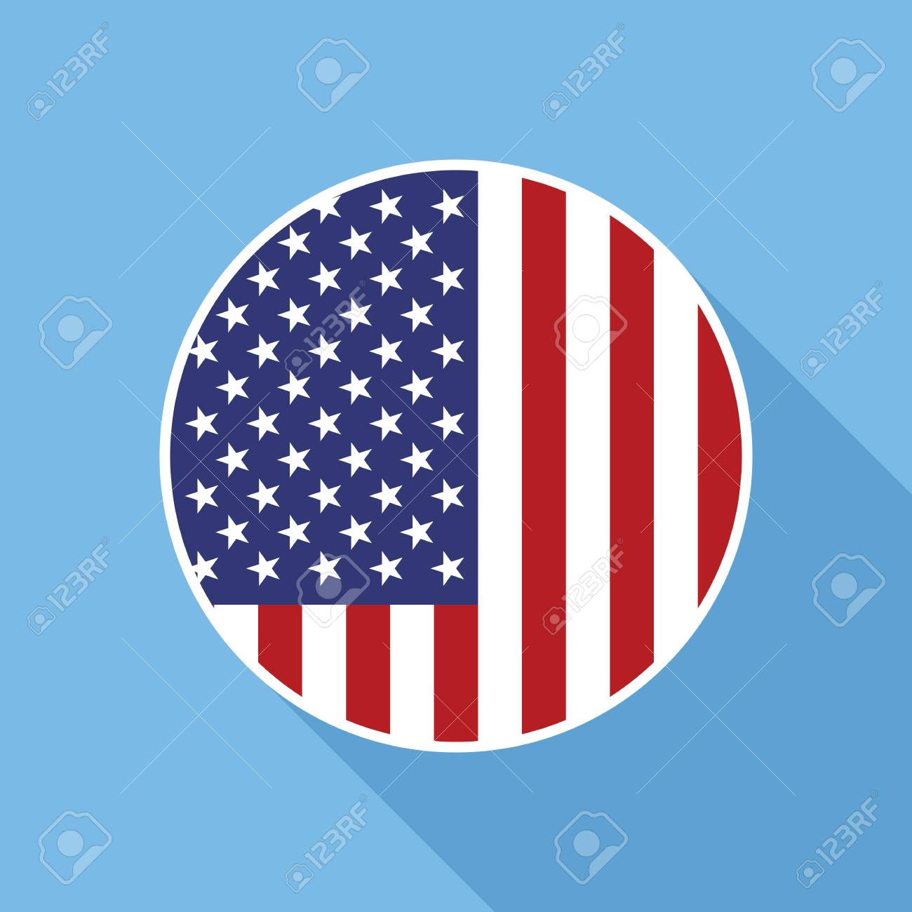 usa national flag vector flat icon vector icon of american flag rh 123rf com free vector usa flag circle usa flag circle vector