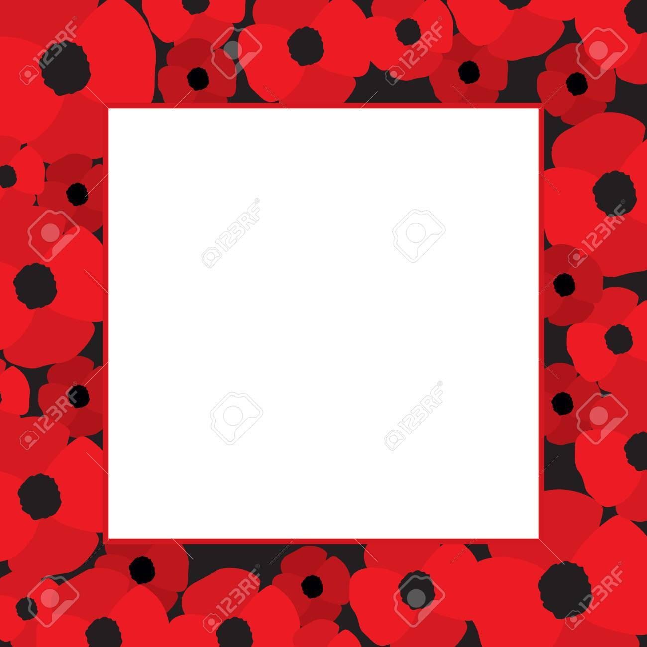 Vector Frame With Red Poppies On Borders And White Blank Space ...