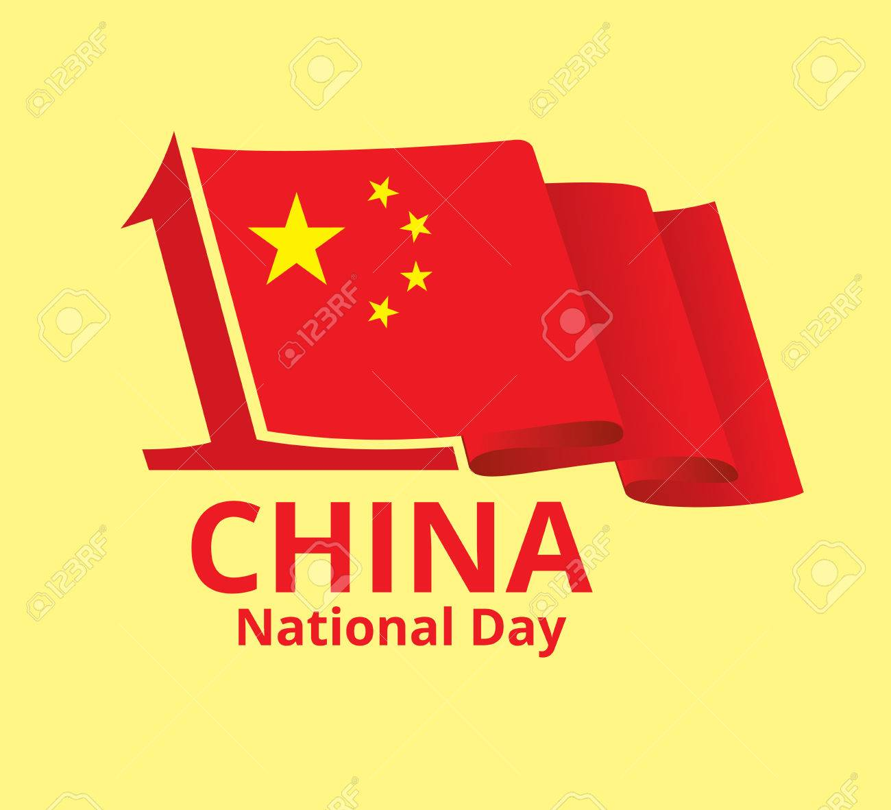 China National Day Design For Greeting Card Fluttering Chinese