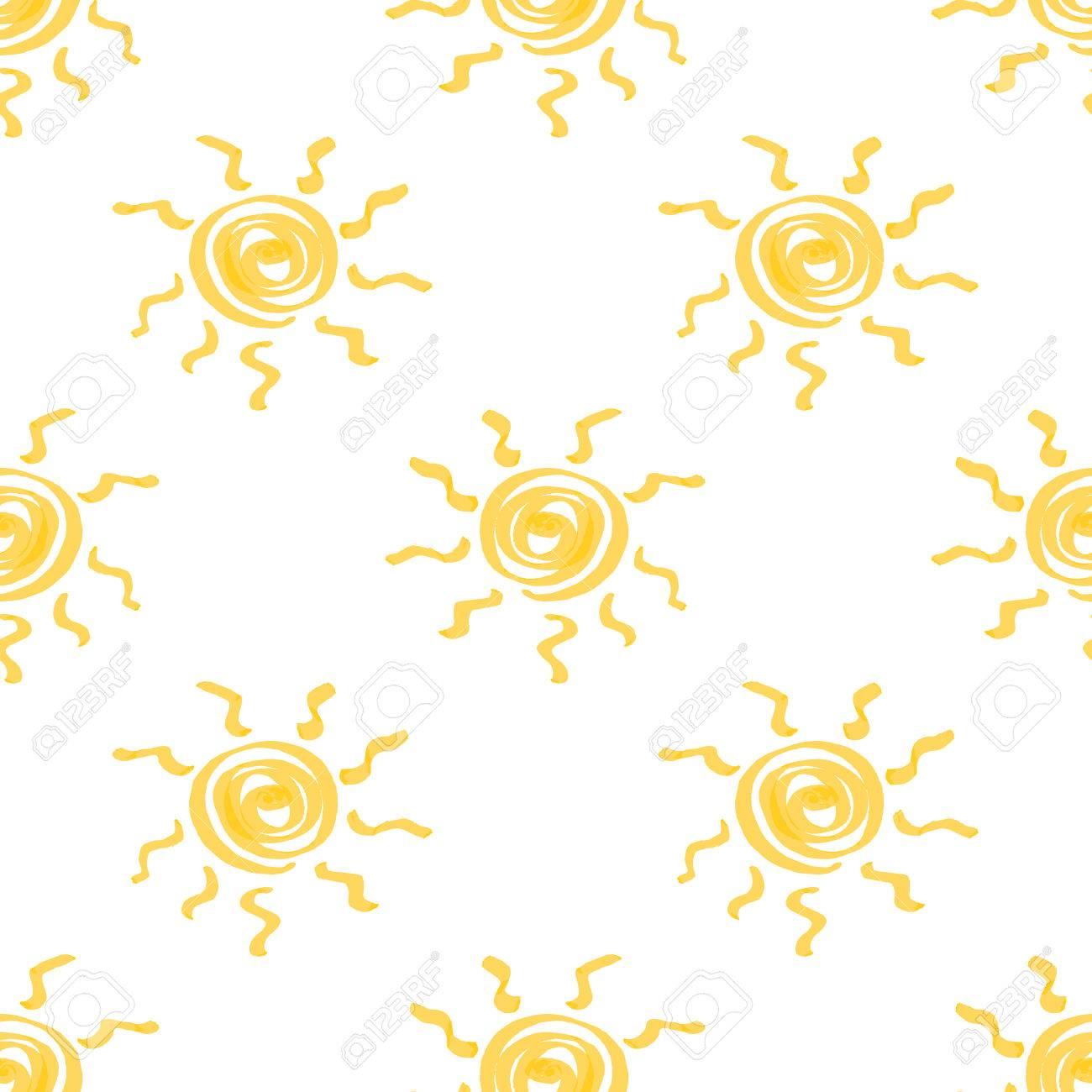 マーカーで描かれた太陽の手でシームレスなパターン サニー イエロー