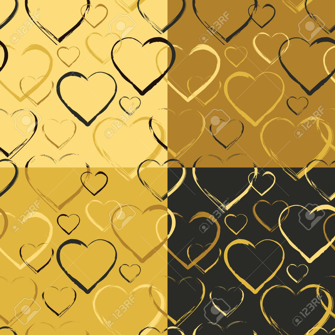 Set Of Seamless Patterns With Symbols Heart Golden Colored Hearts Randomly Scattered On Solid