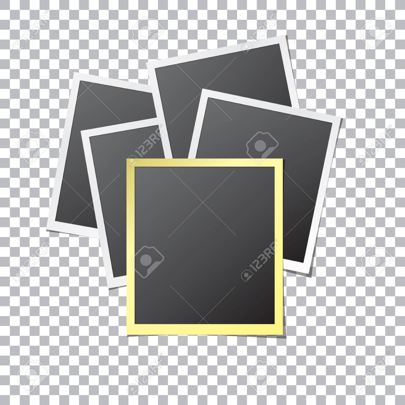 Fünf Papier Bilderrahmen In Weißen Und Goldenen Farben Mock-up ...