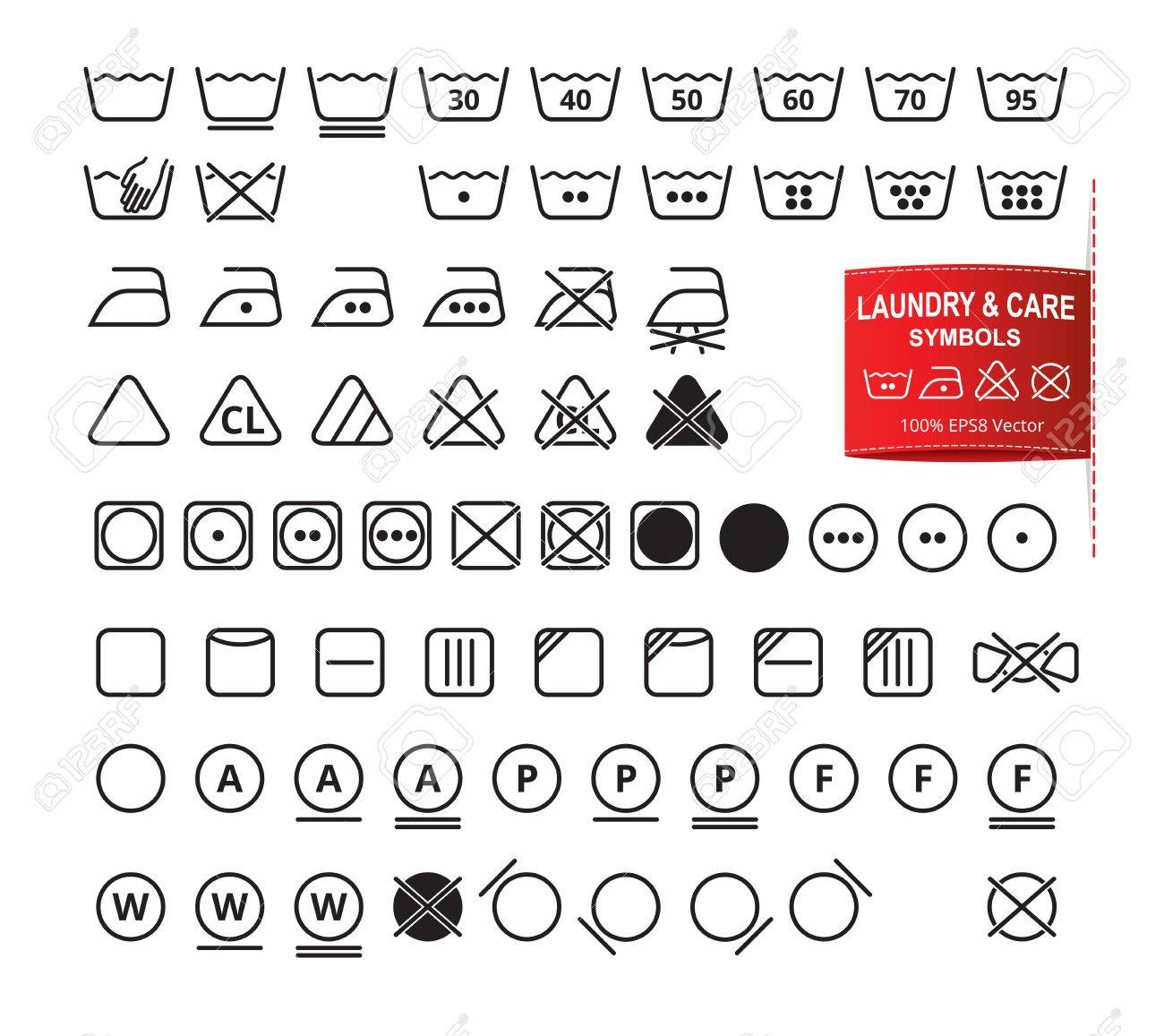 Icon set of laundry symbols in modern thin line flat design style icon set of laundry symbols in modern thin line flat design style clothing washing biocorpaavc Images