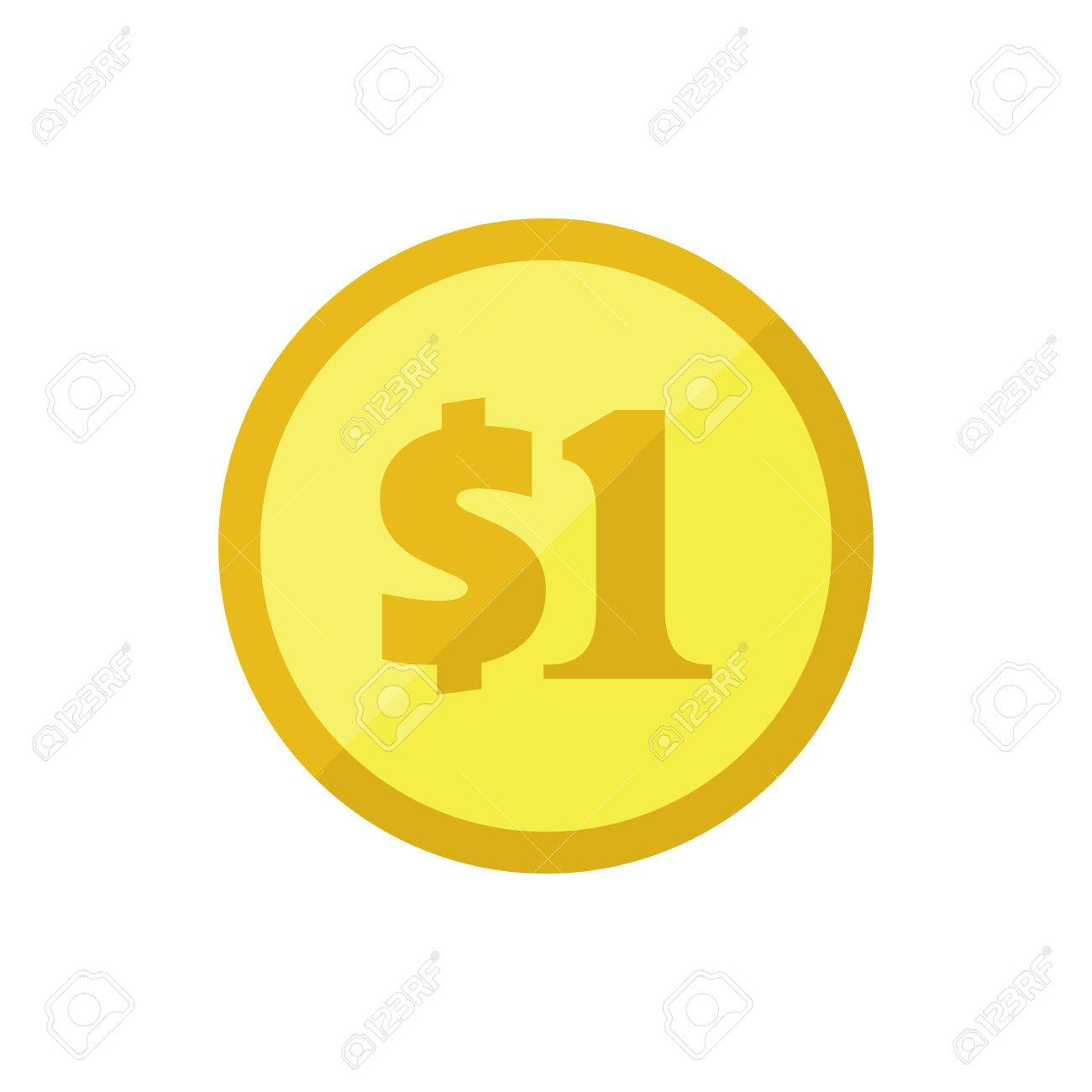 Us Dollar Golden Coin Flat Vector Icon American Currency Symbol
