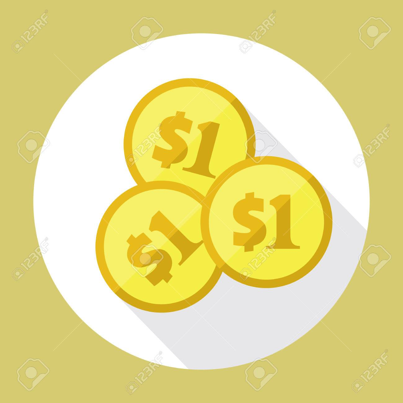 Three Us Dollar Golden Coins Flat Vector Icon American Currency