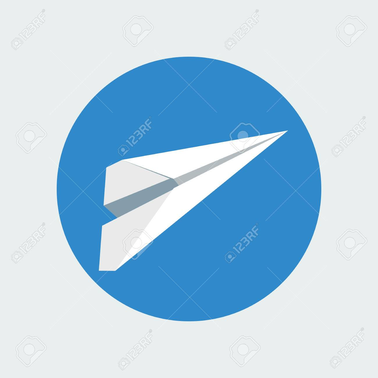 Paper Plane Icon Isolated Inside Sky Blue Circle Background Symbol Of A White Papercraft Origami