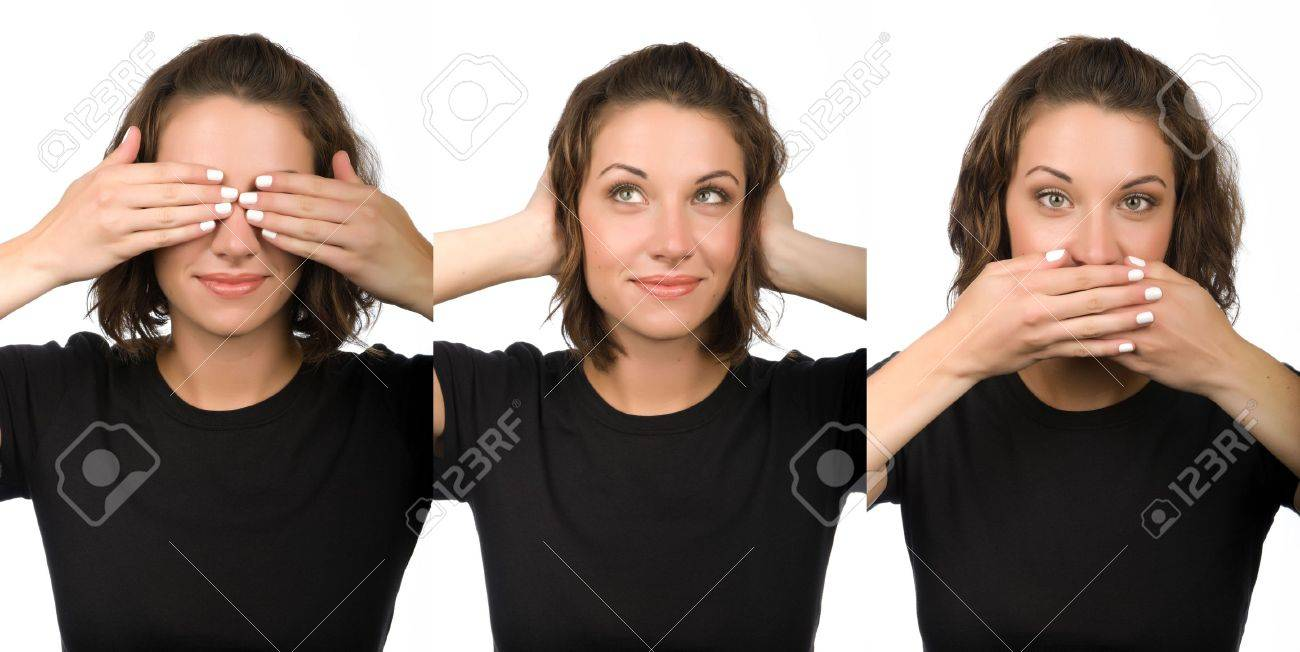 Three wise women who see, hear or speak no evil Stock Photo - 3757652