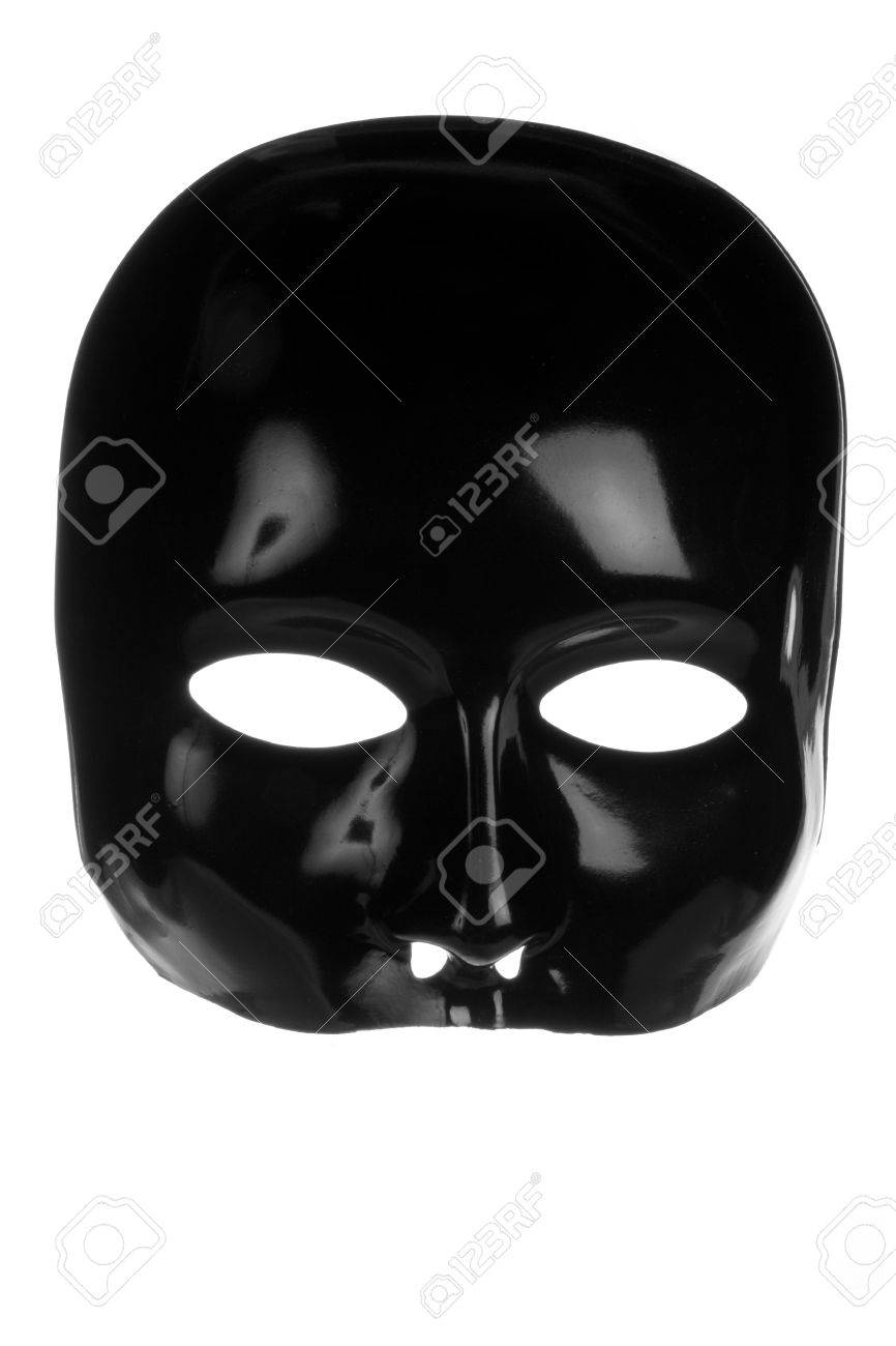 Eerie Black Face Mask Isolated On White Background Stock Photo ...