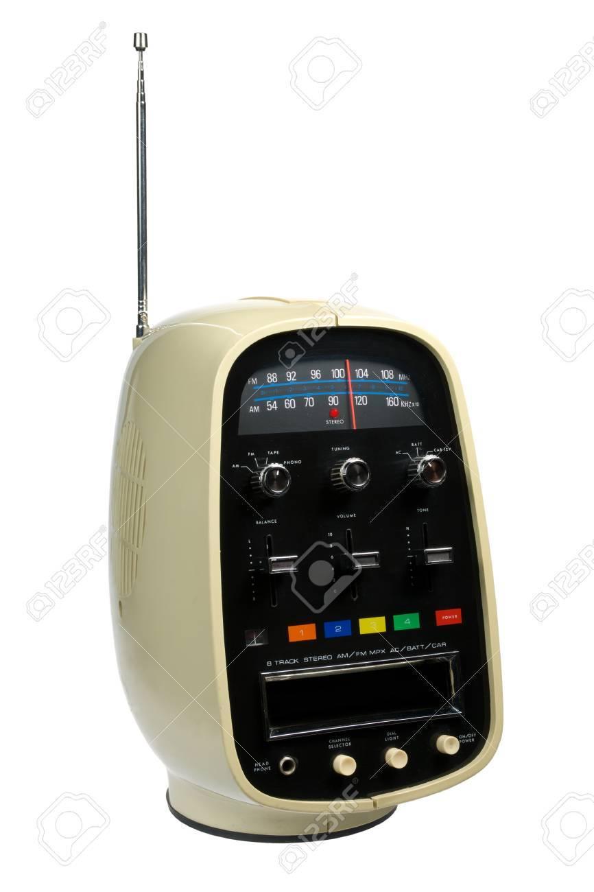 Retro portable eight track tape player & radio isolated on white background Stock Photo - 4089849