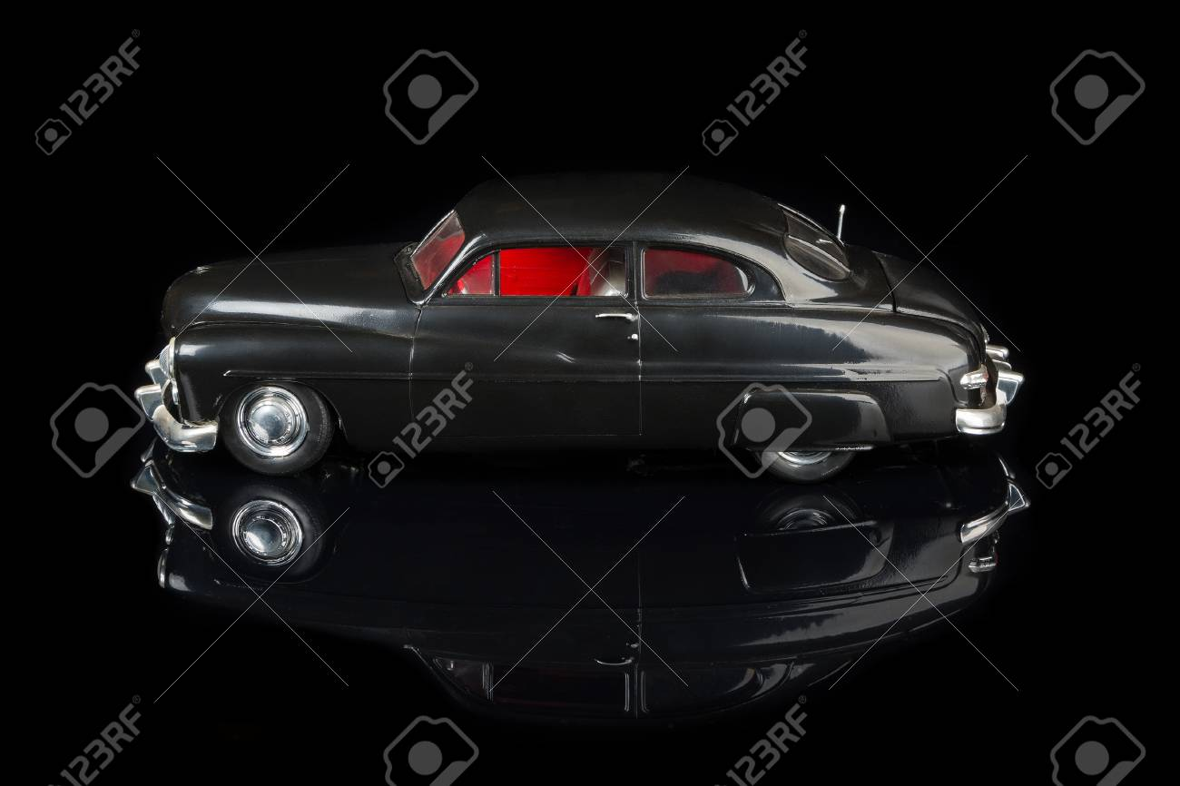 Vintage Car Model On Black Background Stock Photo, Picture And ...