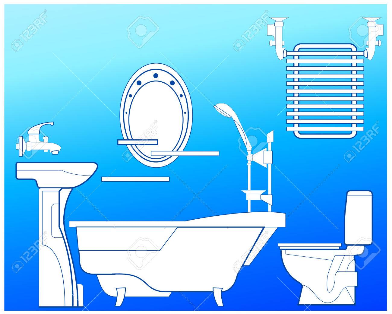 Bathroom With Bath, Shower, Bowl, Toilet, Towel Drying And Mirror ...