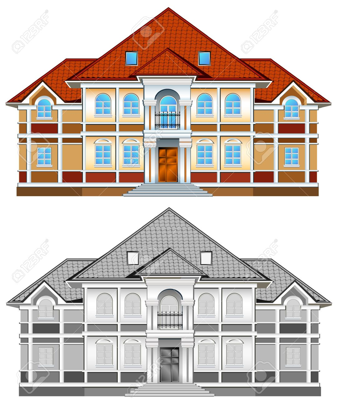 Drawing of country residence, two-storeyed house with greater windows, illustration Stock Vector - 4483809