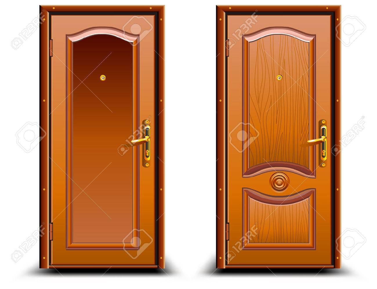puerta cerrada de madera marrn con diseo clsico de bloqueo la ilustracin foto de