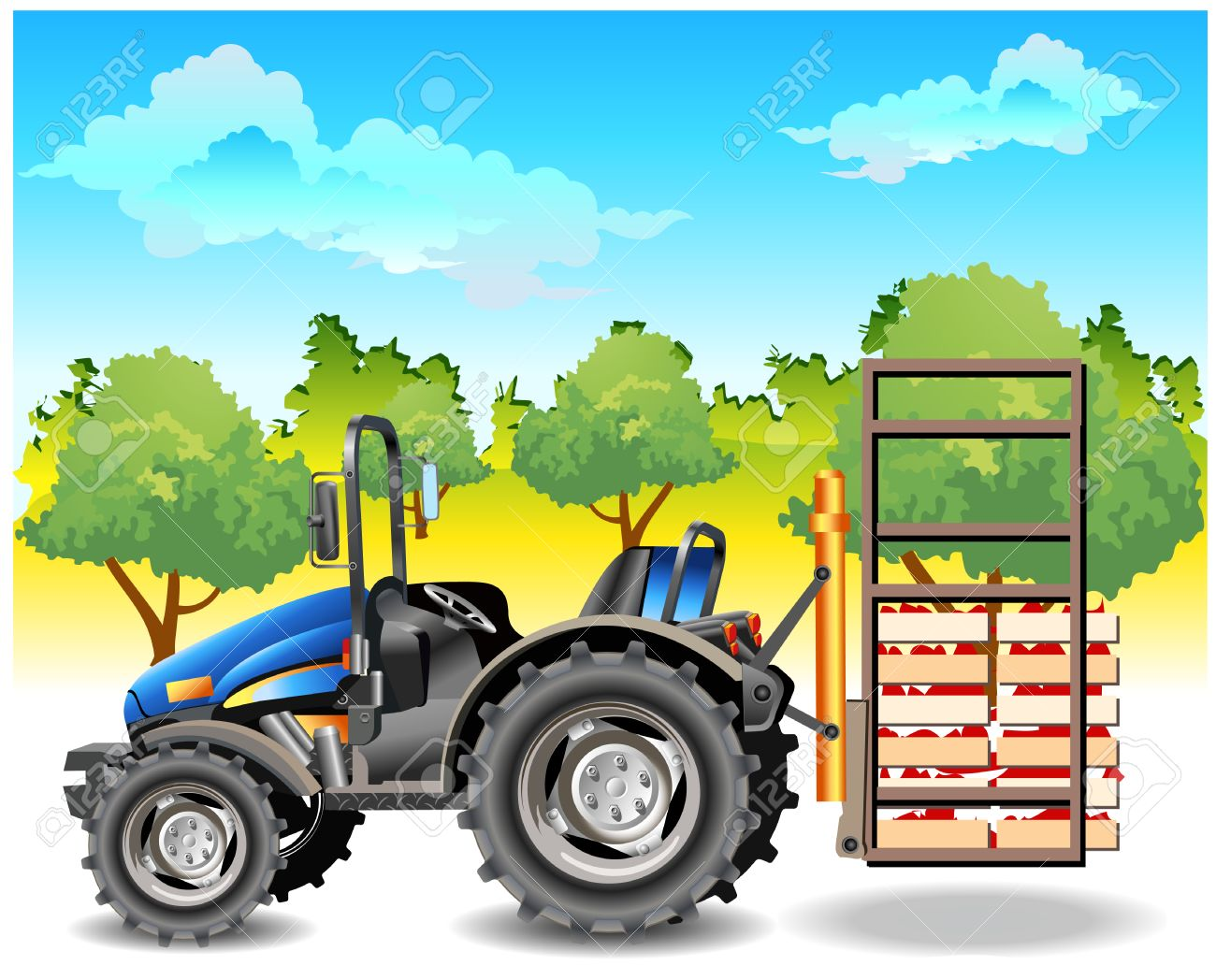 Agricultural machine, tractor in dark blue color, on field, vector an illustration Stock Vector - 4483884
