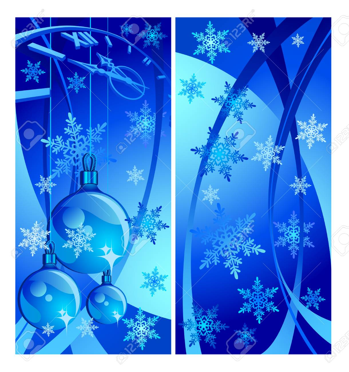 New year's card with clock, baubles, vector illustration in blue background Stock Vector - 4597896