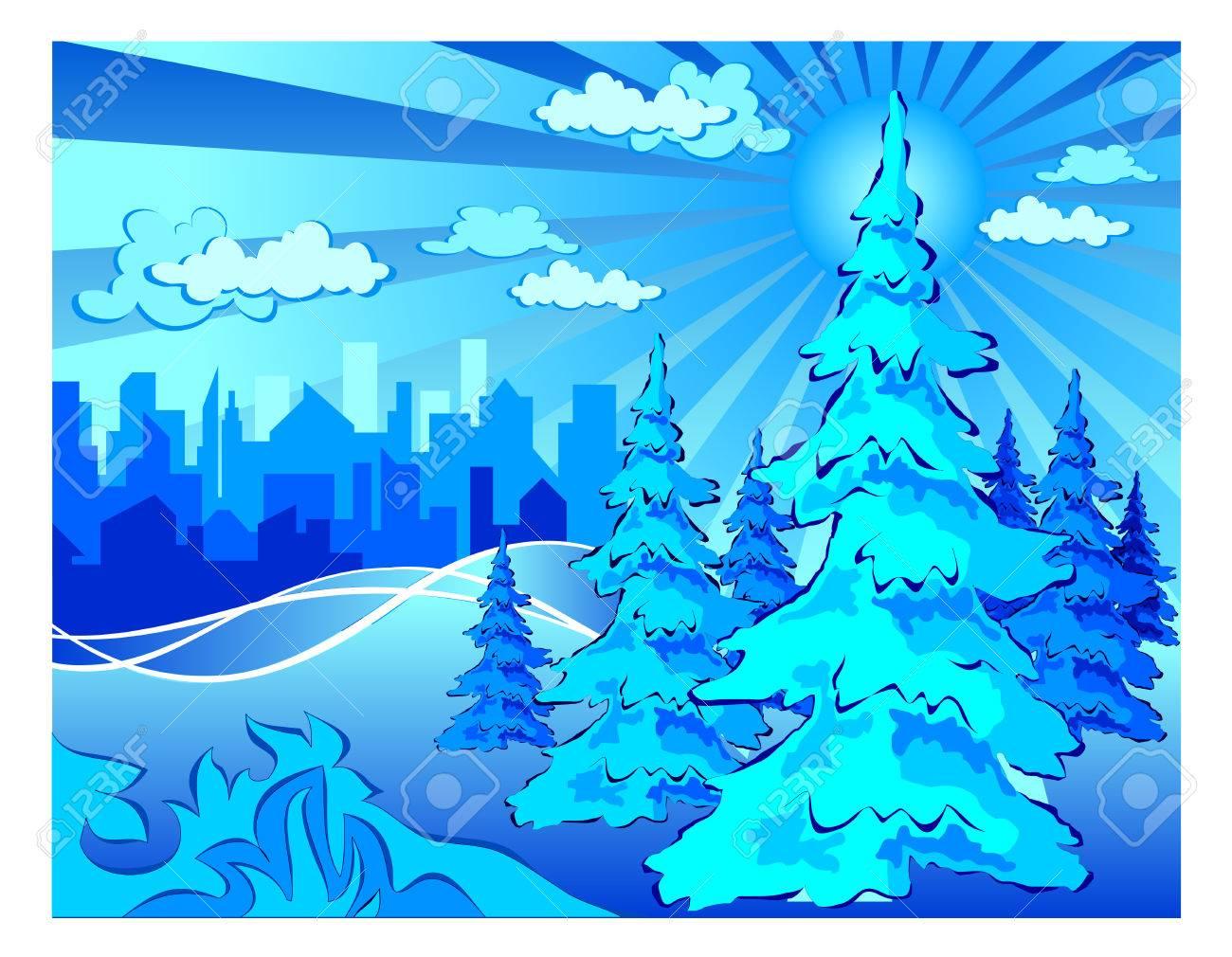 Winter park in city, landscape in blue, vector illustration Stock Vector - 4597883