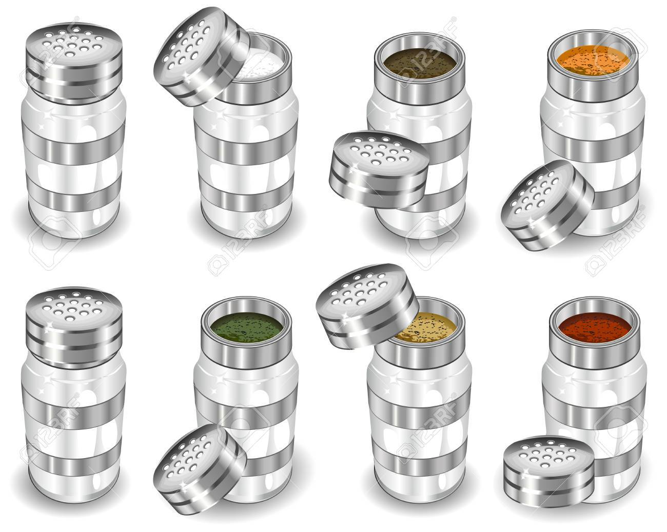 Capacities with spices, salt and pepper shaker, vector illustration on white background Stock Vector - 4605617