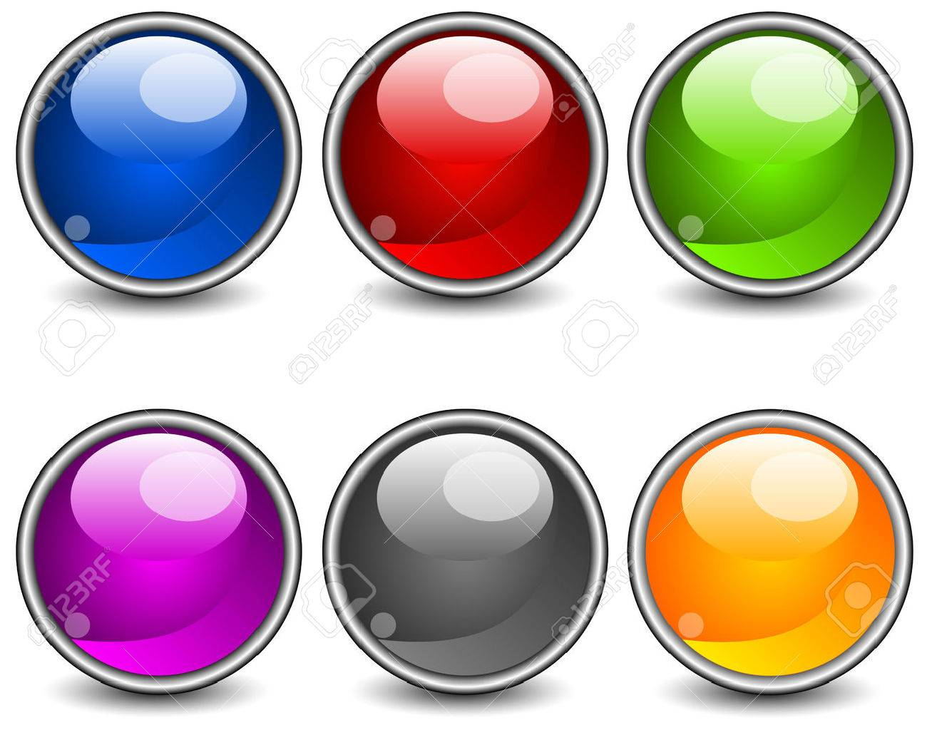 Aqua stiled glossy buttons, vector round web icons on white Stock Vector - 4634609