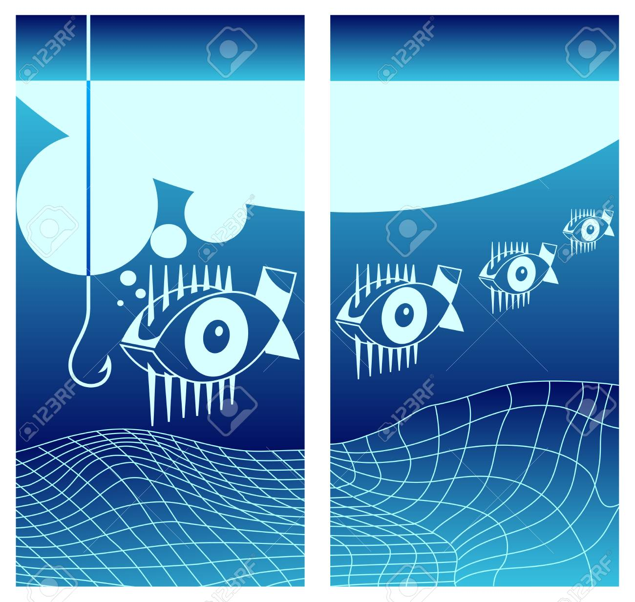 Biting fishes background in blue, underwater vector illustration Stock Vector - 5041750
