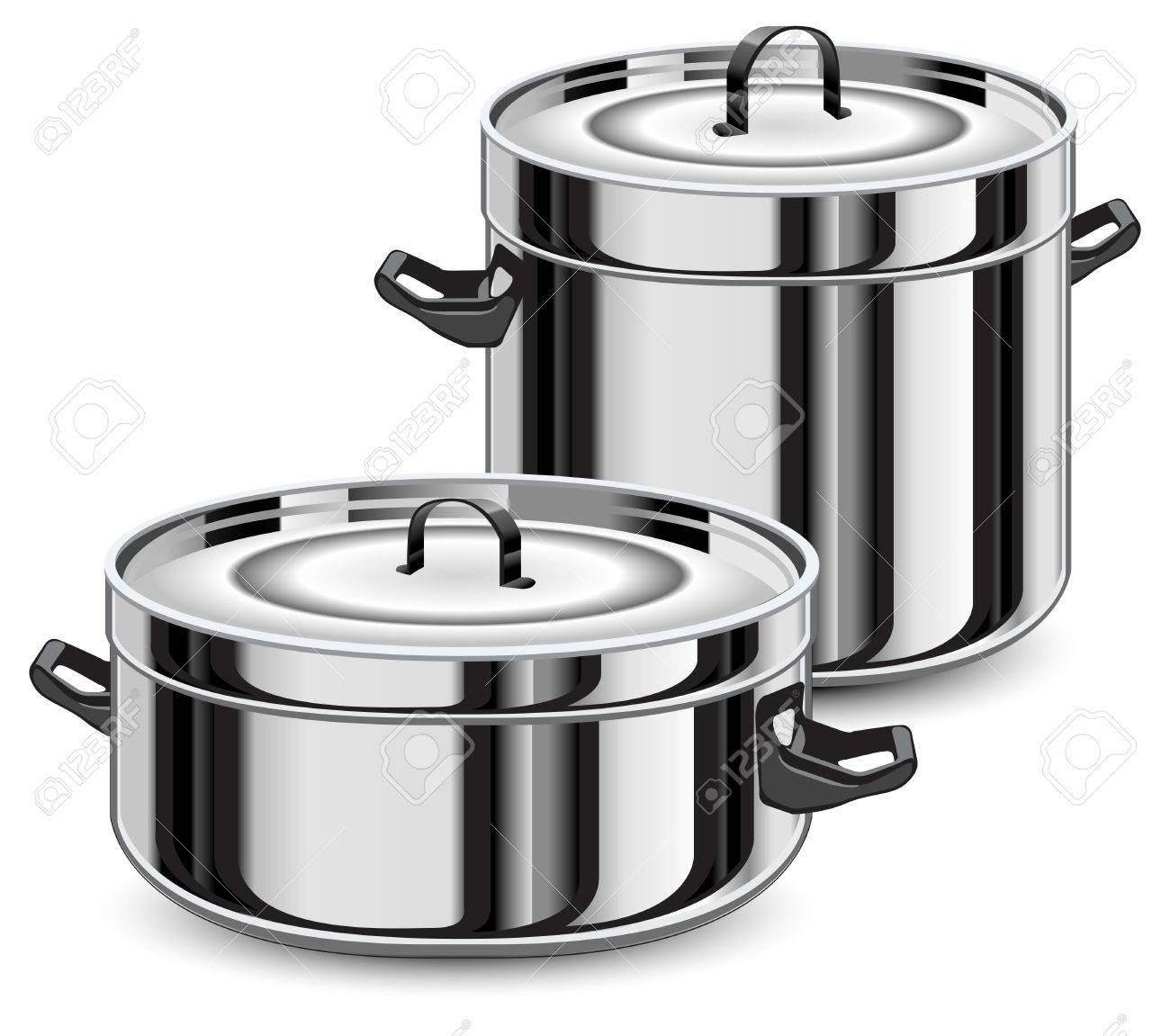 Conjunto De Vajilla De Plata, Ollas Para Cocinar Ilustración Aisladas Sobre  Fondo Blanco, Vector