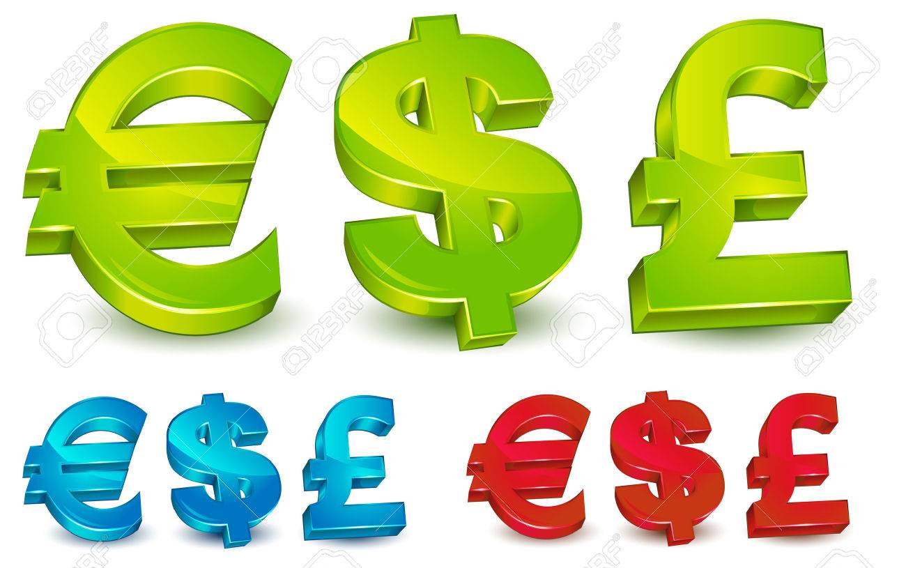 Currency Symbol Of The Us Dollar Uk Pound Sterling And Europe