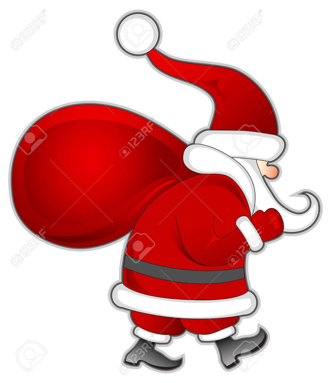 santa claus with red bag of christmas gifts vector illustration