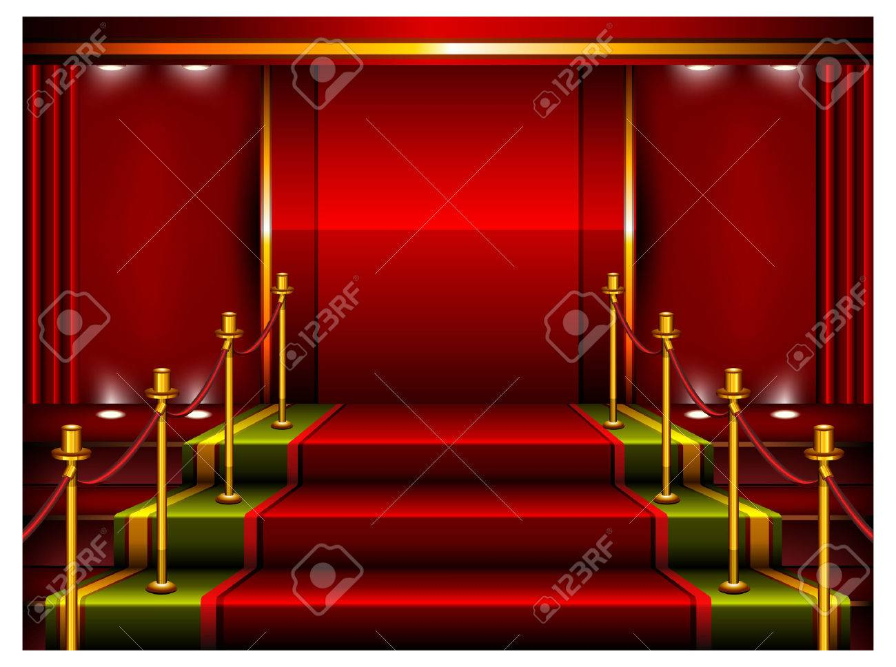 Red carpet and pedestal for rewarding ceremony, vector illustration Stock Vector - 6055166