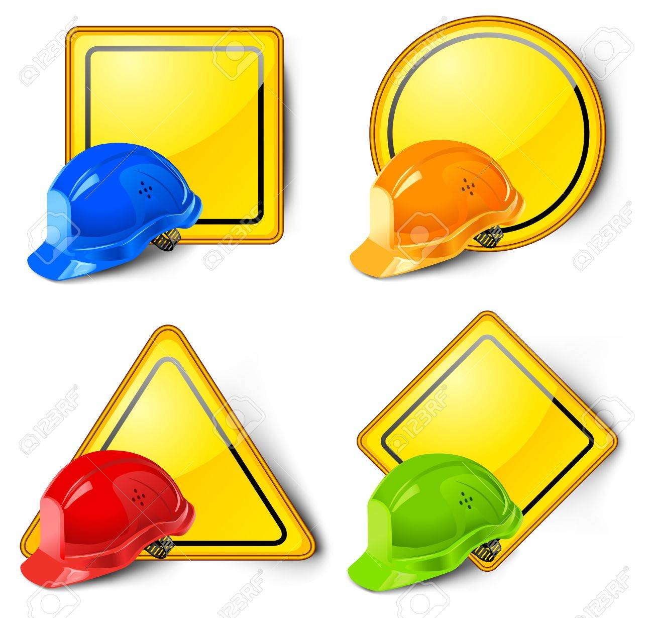 Road signs with helmets isolated on white background Stock Vector - 6495441