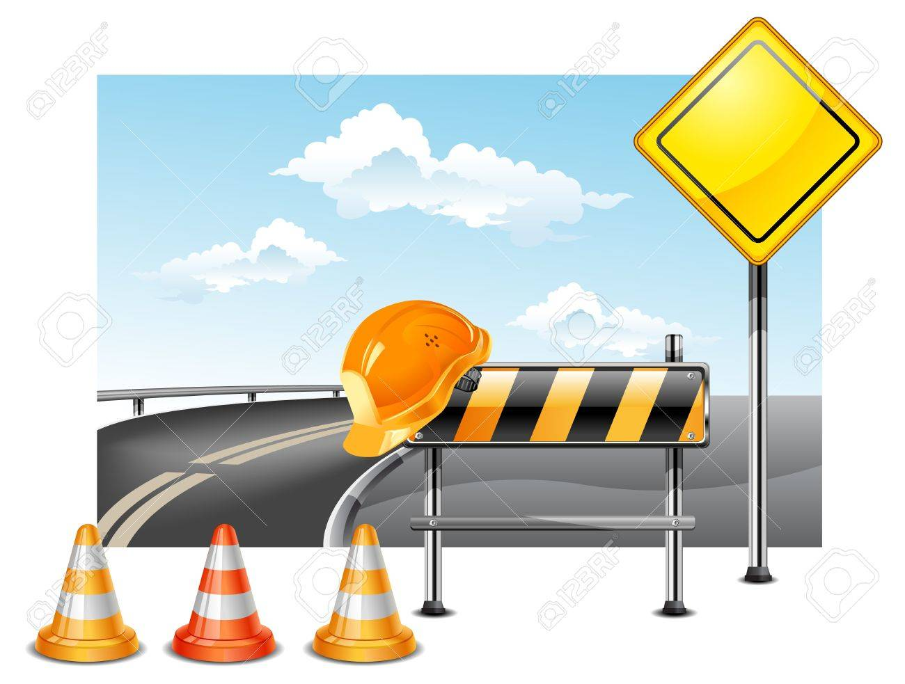 Road warning cone, sign for construction works and helmet Stock Vector - 6549301