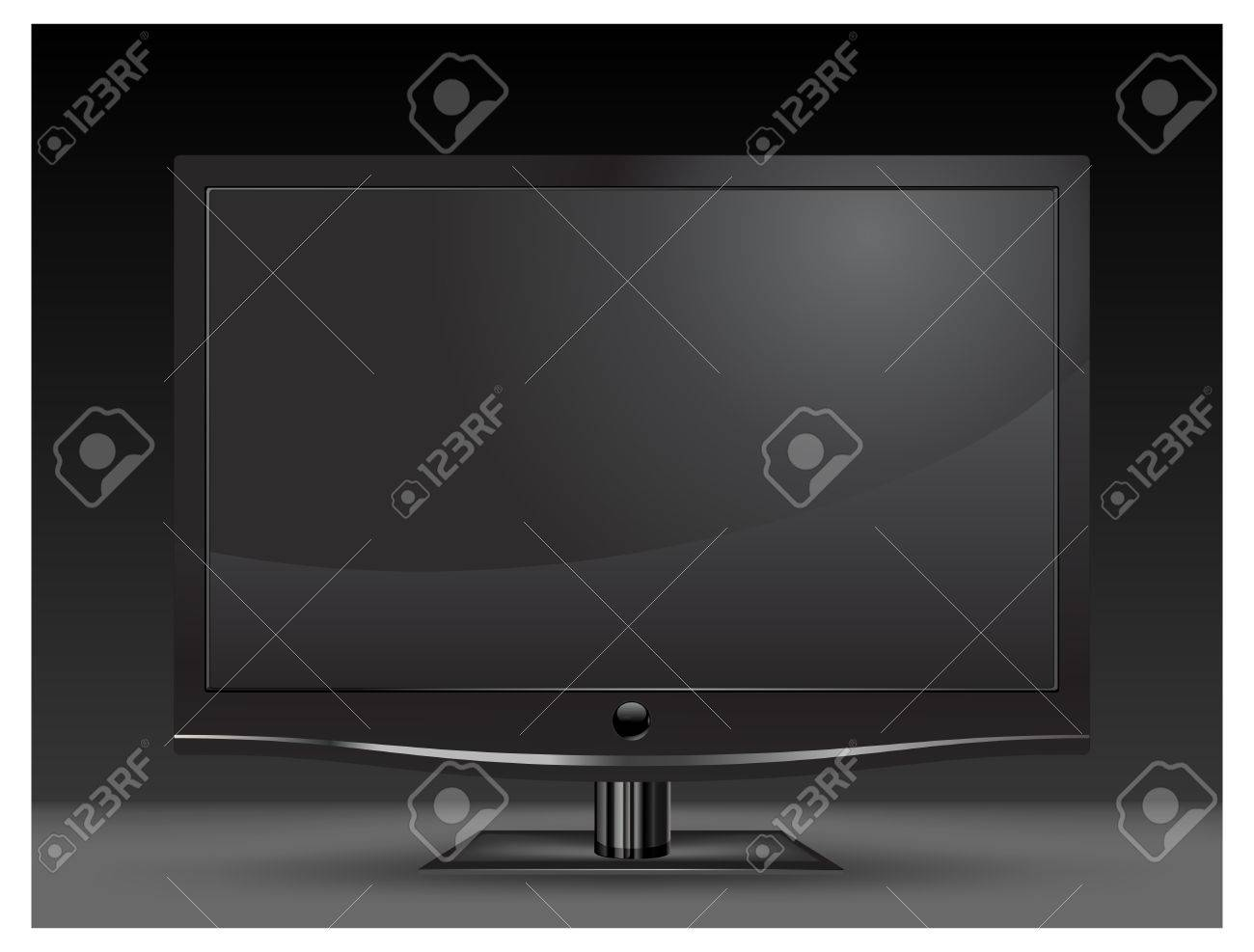 Plasma lcd tv with remote control on white background, illustration Stock Vector - 7020155