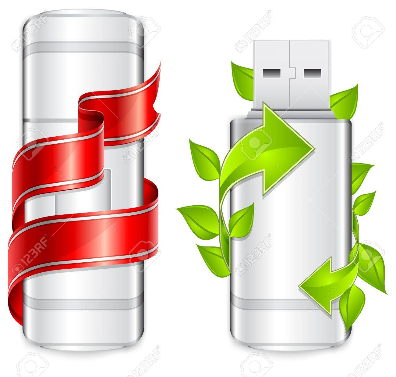 Two usb flash drive with green arrow and red ribbon, Stock Vector - 7499781