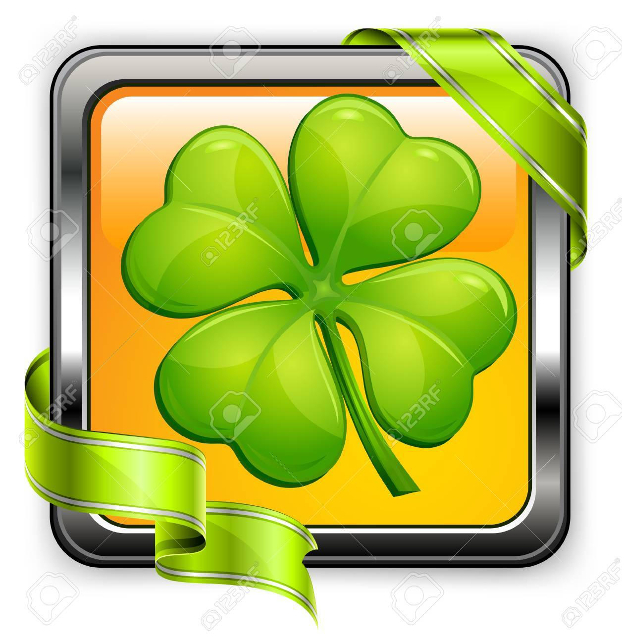 Square clover button with green ribbon on white, vector illustration for St. Patrick's day Stock Vector - 8508380