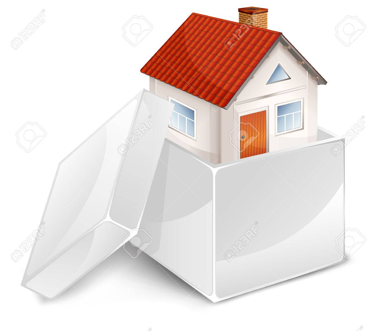 Small Beautiful House In Open White Box, Business Idea Vector ...