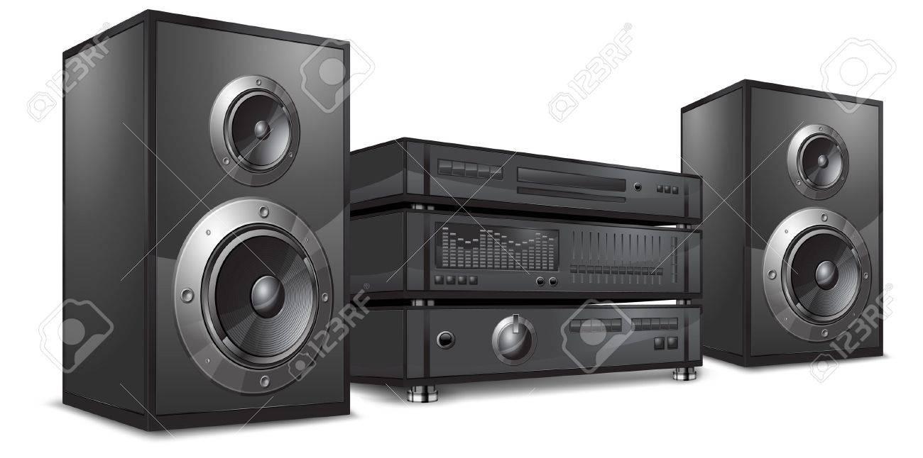 Audio system, hi-fi music center on white, vector illustration Stock Vector - 9353296