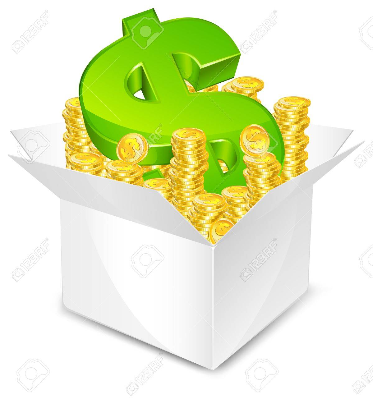white box with gold coin and green dollar sign, isolated, vector illustration Stock Vector - 10024311