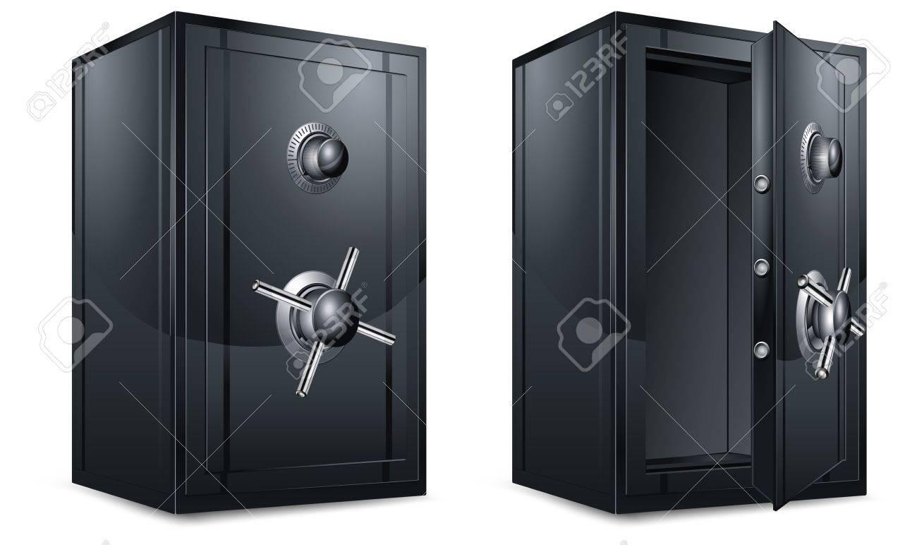 Two black metal bank safes on white, vector illustration Stock Vector - 10292246