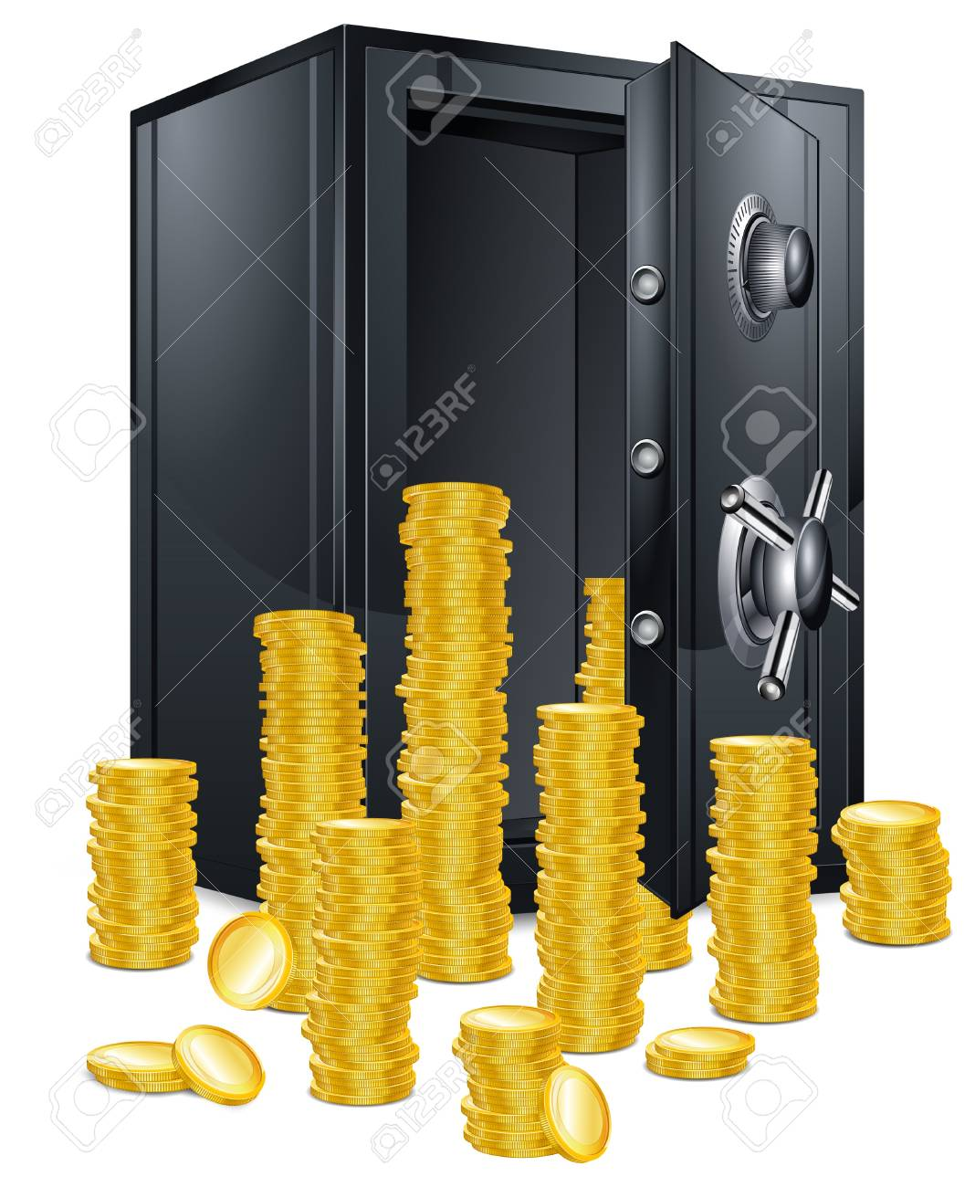 Open bank safes with bunch of gold coins on white Stock Vector - 10419556