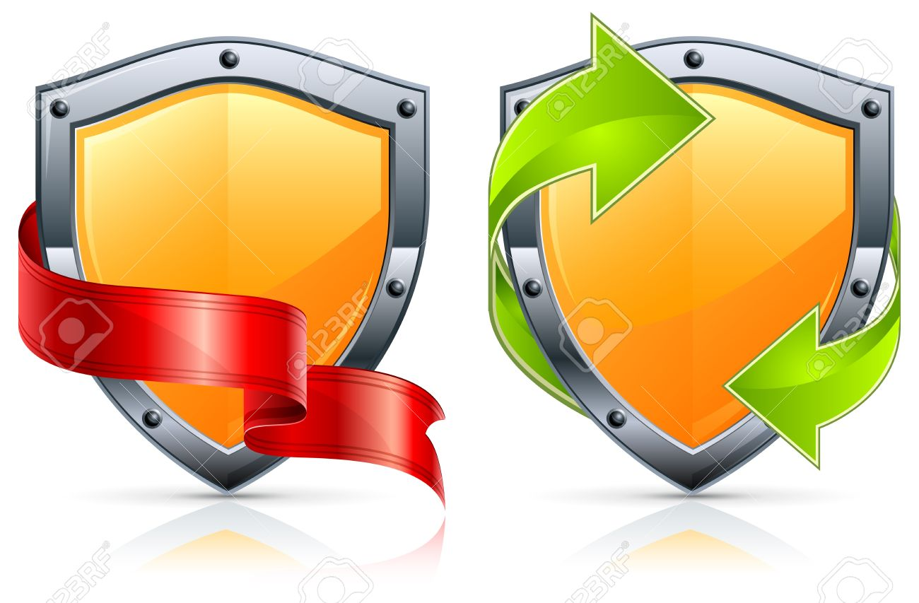 Shield security icons with green arrows and red ribbon on white. Stock Vector - 10701241