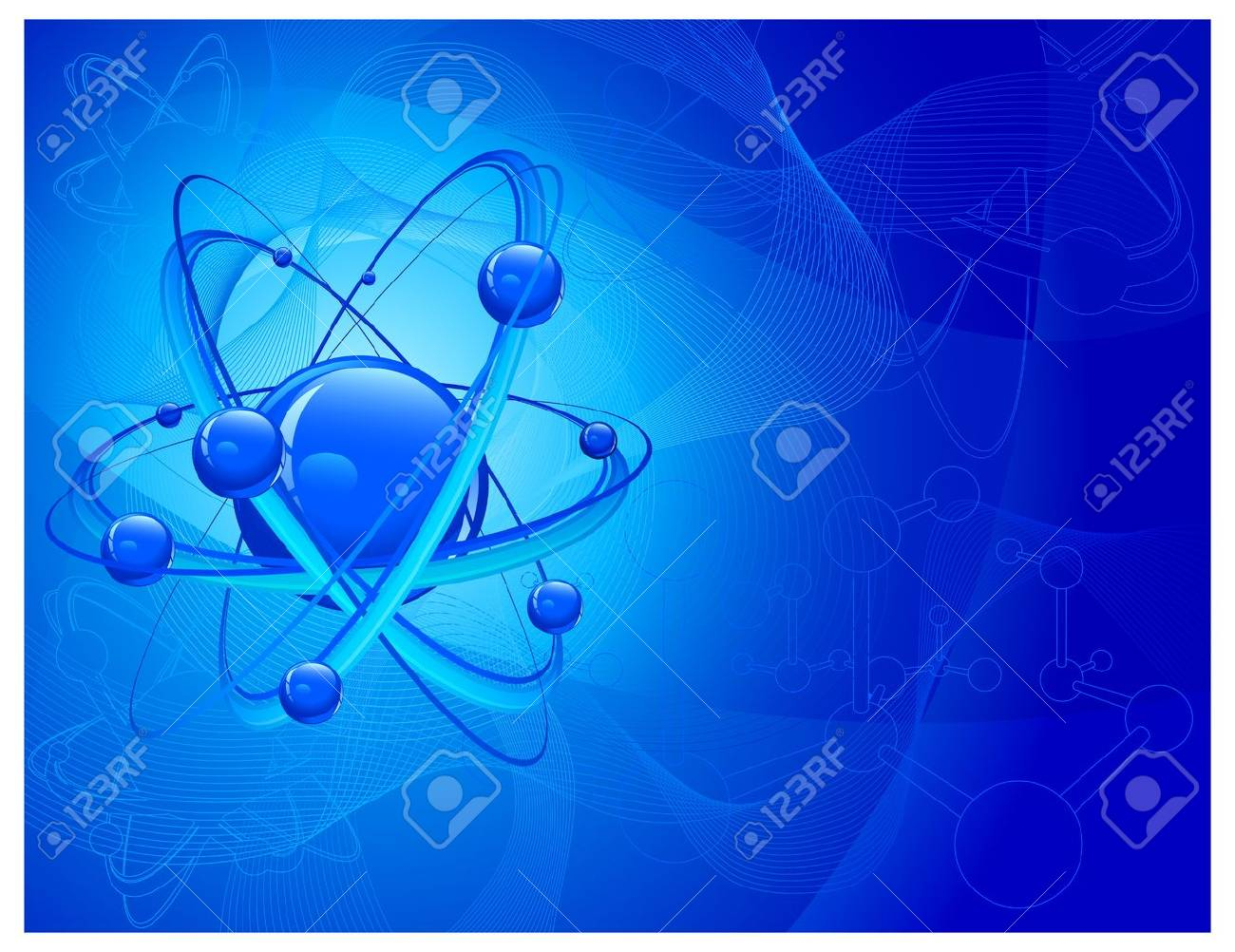 Central nucleus surrounded by electrons on molecular background in blue, vector illustration Stock Vector - 10857093