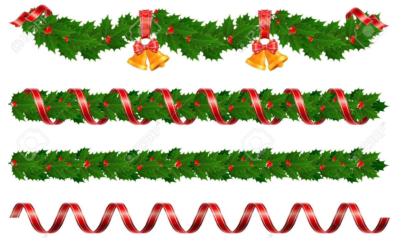 Christmas Holly Garland With Bell And Ribbon Vector Illustration Stock