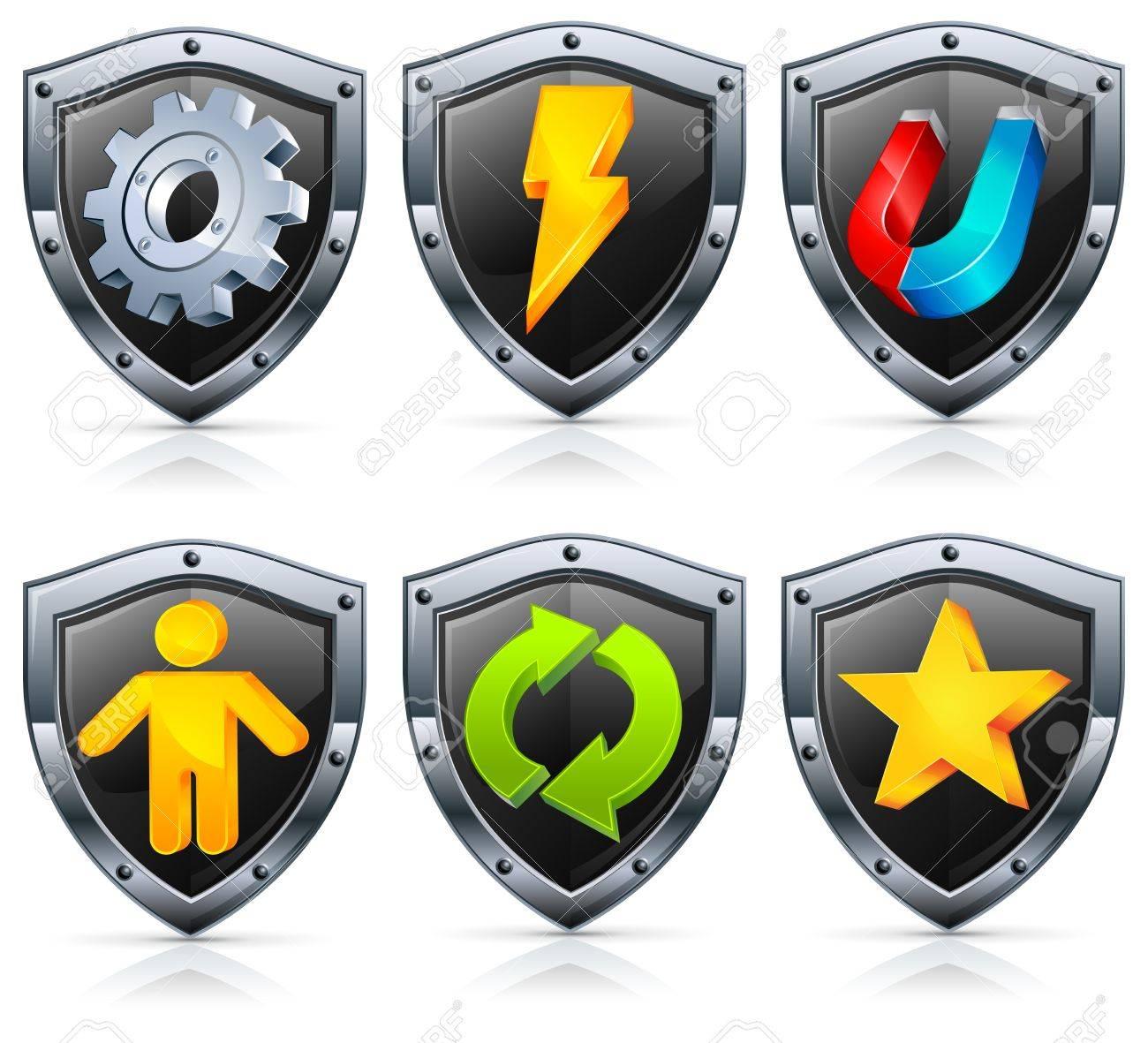 fee107b71dc Escudo de los iconos de seguridad, en color negro con los instrumentos en  blanco,