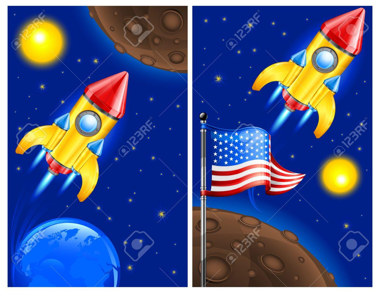 American retro rocket ship space vehicle blasting off into sky, vector illustration. Stock Vector - 12829511