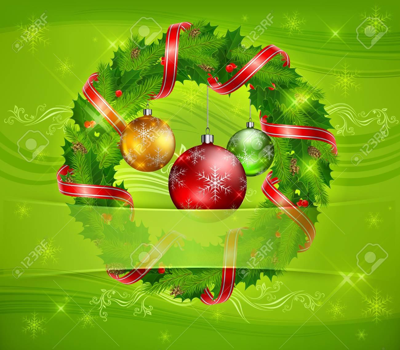 Couronne De Noël De Baie De Houx Branches De Sapin Ruban Et Des