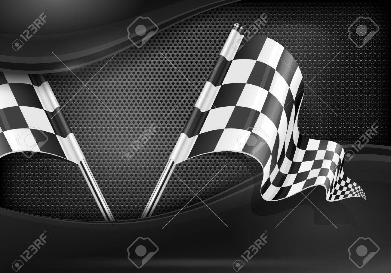 Two crossed checkered flags on mash background, illustration Stock Vector - 16526798