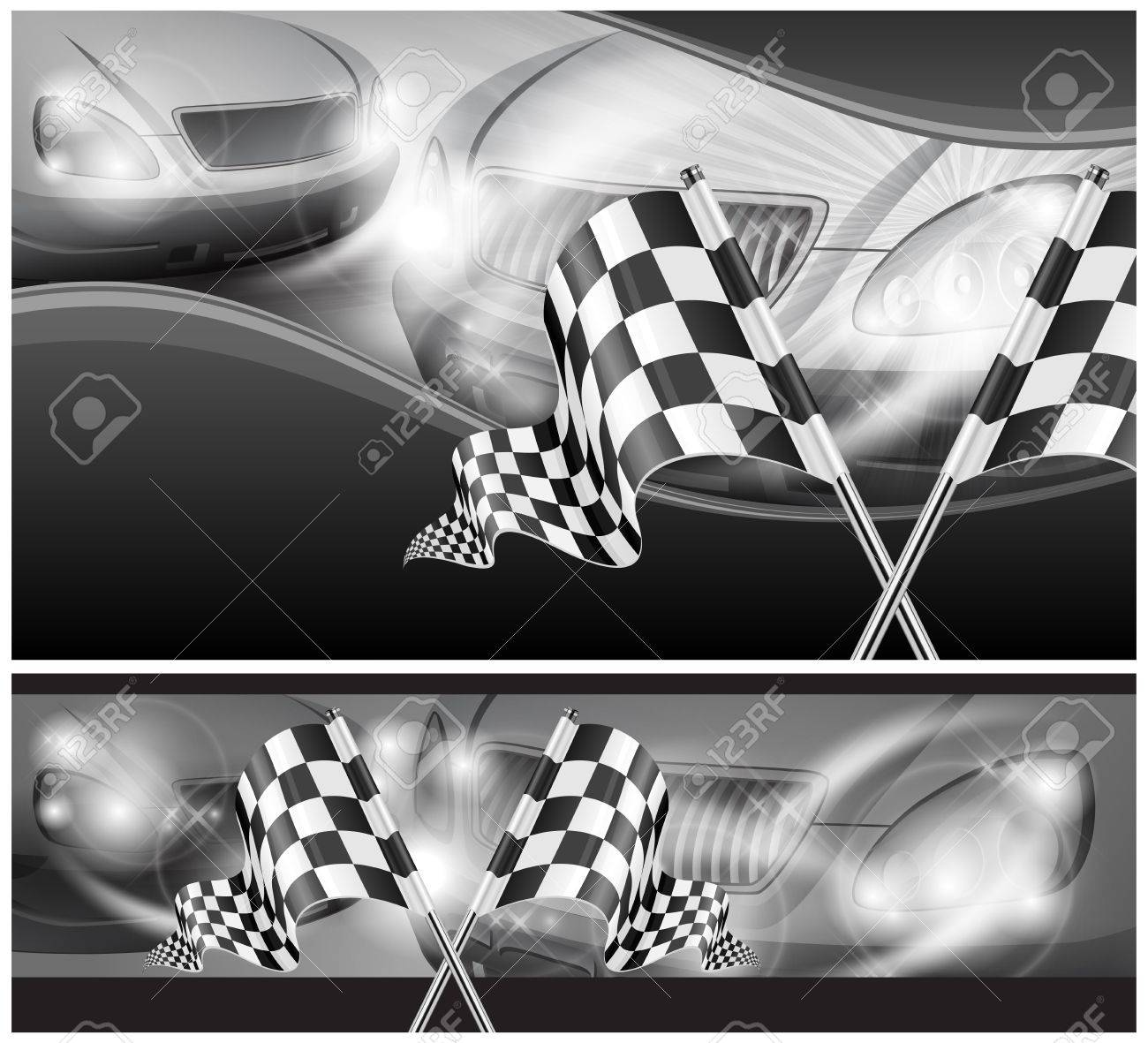 Two crossed checkered flags on auto background, vector illustration Stock Vector - 16646768