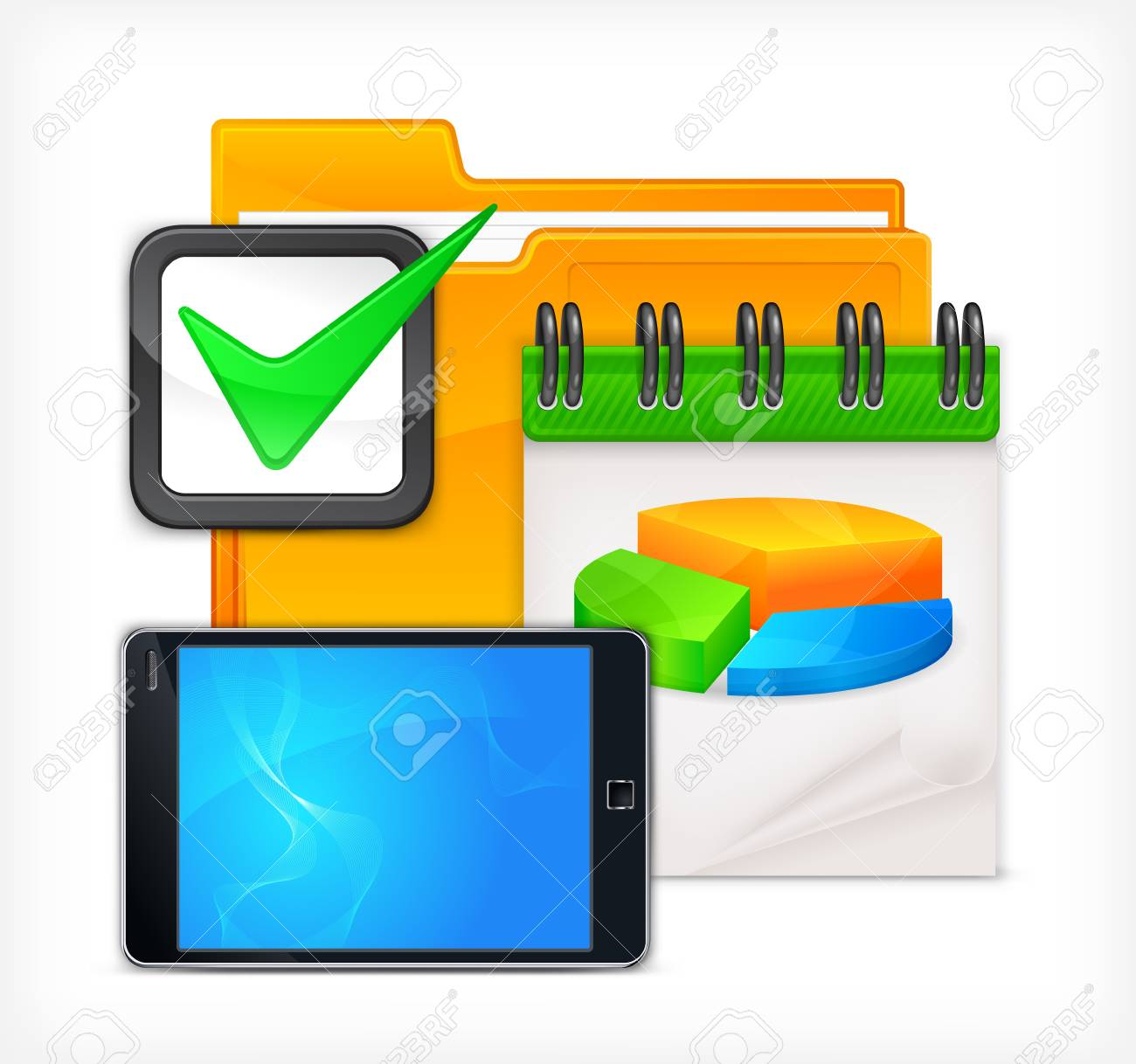 Different business tools on white background,   illustration Stock Vector - 18089983